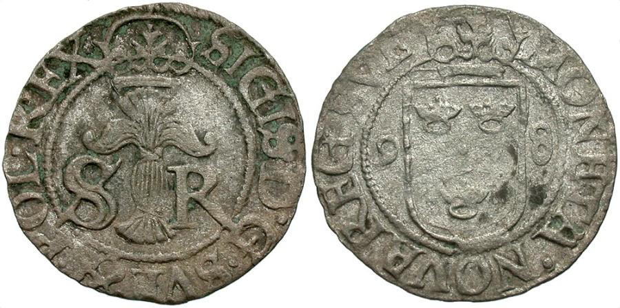 World Coins - Poland / Sweden. Sigismund III Vasa. 1598. 1/2 Ore. VF.