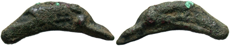 Ancient Coins - Skythia, Olbia. 5th-4th centuries B.C. Æ cast dolphin. VF, small spot.
