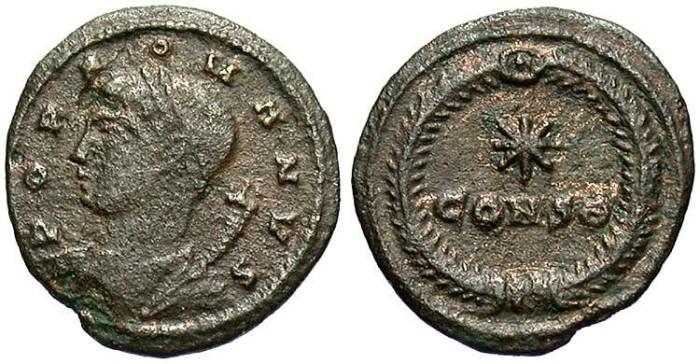 Ancient Coins - Populus Romanus. A.D. 330. Æ half-centionalis. Constantinople. VF.