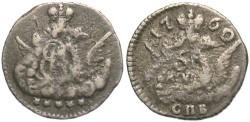 World Coins - Russia. Elizabeth. 1760 SPB. 5 Kopecks. VF. Better date.