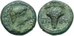 Ancient Coins - Ionia, Teos. Augustus. 27 B.C.-A.D. 14 Æ. VF, green patina.