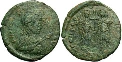Ancient Coins - Valentinian III. A.D. 425-455. Æ 22 mm. Constantinople. Fine/VF.