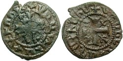 Ancient Coins - Armenian Kingdom. Smpad. 1296-1298. Æ kardez. Good Fine, dark brown patina.