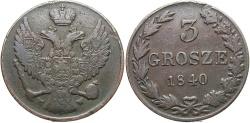 World Coins - Poland, Under Russia. Nicholas I. 1840-MW. 3 Grosze. VF.