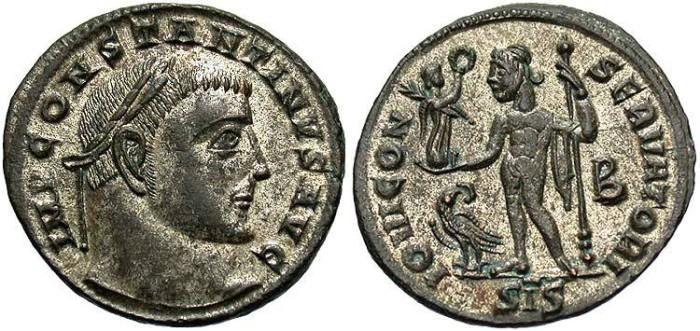 Ancient Coins - Constantine I. A.D. 307-337. Æ follis. Siscia, A.D. 313-315. EF, silvered.