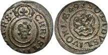 World Coins - Livonia, under Sweden. Christina. 1649. 1 Solidus. Riga. Unc., lustrous.