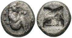 Ancient Coins - Thraco-Macedonian Region, Siris. Ca. 525-480 B.C. AR 1/8 stater. VF, toned.