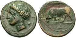 Ancient Coins - Sicily, Syracuse, Agathokles. 317-289 B.C. Æ. VF, brown and green patina.