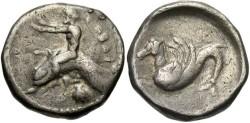 Ancient Coins - Calabria, Taras. Ca. 500-473 B.C. AR nomos. VF. Rare.