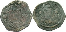 Ancient Coins - Nezak Huns. Sahi Tigin. Ca. A.D. 710-720. Æ obol. Fine.