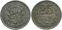 World Coins - Luxembourg. 1919. 25 centimes. EF.