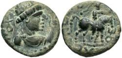 Ancient Coins - India, Kushan, Soter Megas. A.D. 55-105. Æ drachm. Good VF.