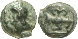 Ancient Coins - Celtic Gaul, Leuci. After 200 B.C. Potin 19 mm. VF for type, dark green patina.