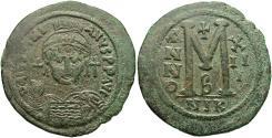 Ancient Coins - Justinian I. 527-565. Æ follis. Nicomedia, regnal year 13 (539/40). VF, green patina.
