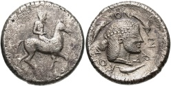 Ancient Coins - Sicily, Syracuse. Deinomenid Tyranny. 485-466 B.C. AR didrachm. Under Gelon, ca. 480-478 B.C. VF.