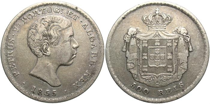 World Coins - Portugal. Pedro V. 1855. 500 reis. VF.