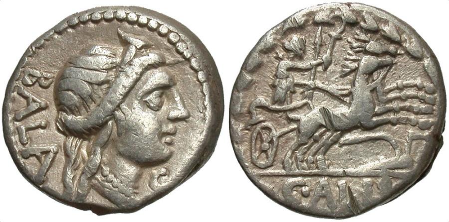 Ancient Coins - C. Allius Bala. 92 B.C. AR denarius. Rome. Good VF.