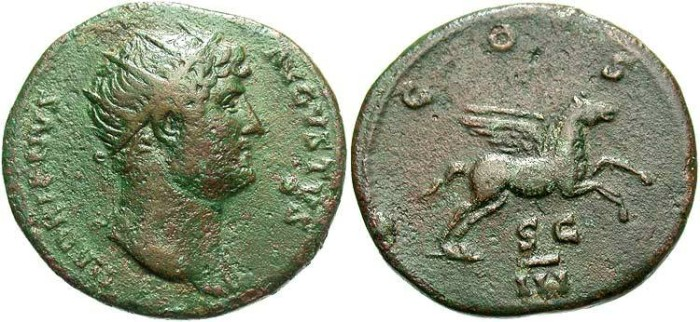 Ancient Coins - Hadrian. A.D. 117-138. Æ dupondius. Rome, A.D. 126. VF, brown and green patina.