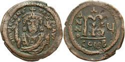 Ancient Coins - Tiberius II Constantine. A.D. 578-582. Æ follis. Constantinople, year 5 (A.D. 578/9). VF, brown patina.