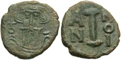 Ancient Coins - Constans II. A.D. 641-668. Æ decanummium. Syracuse, year 10 (A.D. 651/2). VF, green patina.