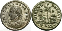 Ancient Coins - Crispus, Caesar. 316-326 AD. Silvered AE3. Thessalonica.