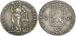 World Coins - Netherlands West Indies. 1794. 1/4 Gulden. Toned EF.