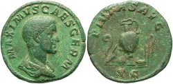Ancient Coins - Maximus. Caesar, A.D. 236-238. Æ sestertius. Rome, A.D. 236/7. VF, nice stable green patina. Heavy flan.
