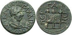 Ancient Coins - Pamphylia, Perge. Gallienus. A.D. 253-268. Æ 30 mm. VF, grey-brown patina, usual roughness.