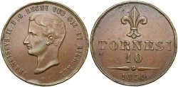 World Coins - Naples and Sicily. Francesco II. 1859. 10 Tornesi. EF, brown patina. Very nice for the type.