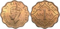 World Coins - India, British. George VI. 1943. 1 anna. BU.