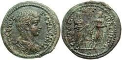 Ancient Coins - Lydia, Bageis. Geta. As Caesar, A.D. 197-209. Æ. Good VF, brown patina.