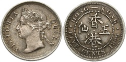 World Coins - Hong Kong. Victoria. 1889. 5 Cents. AU, toned.