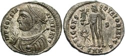 Ancient Coins - Constantine I. A.D. 307-337. Æ follis. Cyzicus, A.D. 317-320. EF, nearly full silvering.