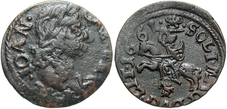 World Coins - Lithuania. John Casimir. 1661-TLB. 1 Solidus. EF, nice.