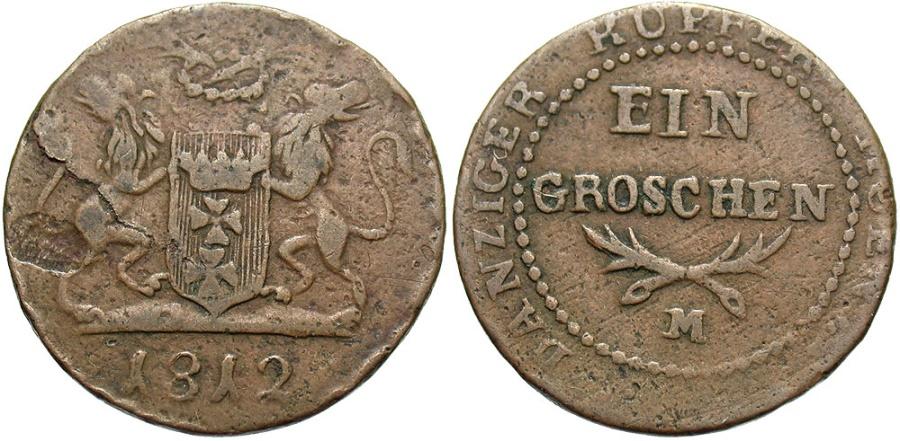 World Coins - Danzig. 1812-M. 1 Grosz. Near VF.
