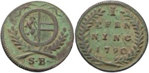 Austria, Salzburg. Hieronymus. 1790. 1 Pfennig. VF, green and brown patina.