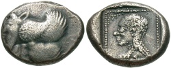 Ancient Coins - Caria, Uncertain mint. Ca. 490-470 B.C. AR hemistater. Aeginetic standard. VF, toned. Extremely rare.