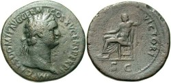 Ancient Coins - Domitian. A.D. 81-96. Æ sestertius. VF, dark green patina.