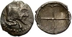 Ancient Coins - Sicily, Gela. Before 405 B.C. AR hemiobol. VF, toned.