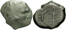 Ancient Coins - Bosporan Kingdom. Leukon II. Ca. 250-220 B.C. Æ 23 mm. Fine, dark brown patina. Rare.