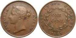 World Coins - Straits Settlements. EIC. 1845. 1 cent. Choice VF.