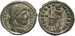 Ancient Coins - Constantine I. A.D. 307-337. Æ follis. Constantinople, A.D. 327-328. VF, silvered.