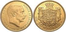 World Coins - Denmark. Christian X. 1915. AV 20 Kroner. AU/Unc.