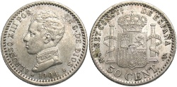 World Coins - Spain. Alfonso XIII. 1904 (04). 50 centesimos. EF.
