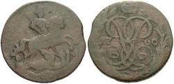 World Coins - Russia. Elizabeth I. 1760. Denga. VF