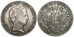 World Coins - Austria. Ferdinand I. 1843A. AR Taler. Toned VF.