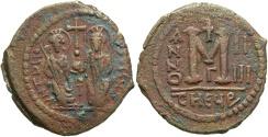 Ancient Coins - Justin II. 565-578. Æ follis. Antioch, regnal year 5. VF, brown patina.