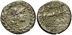 Ancient Coins - Cn. Gellius. 138 B.C. AR denarius. Toned VF.
