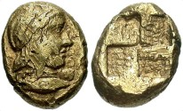 Ancient Coins - Mysia, Kyzikos. Ca. 5th-4th centuries B.C. EL 1/6 stater. VF.