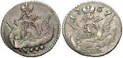 World Coins - Russia. Elizabeth I. AR 1757. 5 Kopecks. Ch EF.